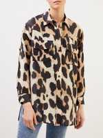 Ganni Seiden-/ Leinenhemd mit Leopardenprint Braun/Multi