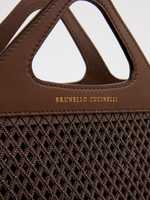 Brunello Cucinelli Small leather bag with pearl decoration Brown