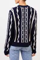 UZWEI Wool cashmere pullover with intarsia knit pattern Navy Blue/White