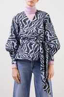 Ganni Wrap blouse with Ttigerprint Blue/Multi