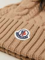 Moncler Cable knit hat with fur bobble Beige
