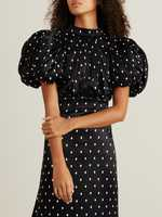 Rotate Polka dot dress 'Dawn' Black