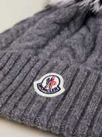 Moncler Cable knit hat with fur bobble Gray