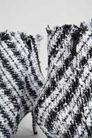Balenciaga Spitze Tweed-Stiefelette Schwarz/Weiß