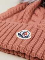 Moncler Cable knit hat with fur bobble Rosé