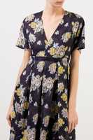 Brock Collection Long cotton dress with floral print Navy Blue/Multi